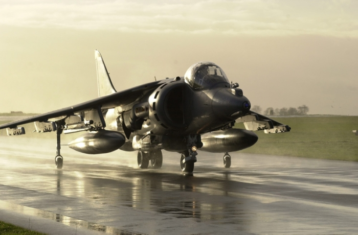 The British Aerospace Harrier is used by the RAF in the close air support role.