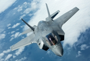 Pictured is the first of the UK's F-35B Lightning II jets to be flown to the UK.