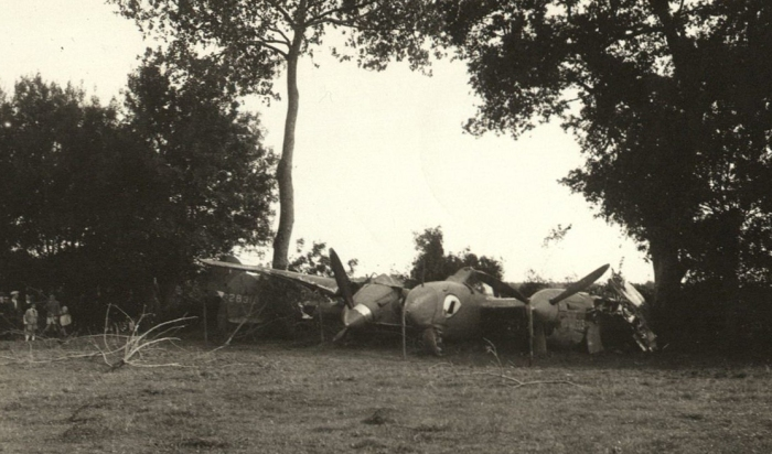4-The wreckage of Adams' P-38 near Morannes