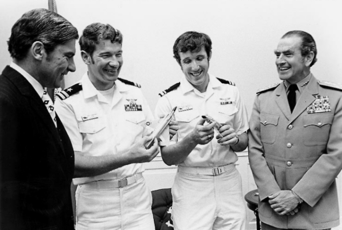 Cunningham and Driscoll meet with Secretary of the Navy John Warner and CNO Admiral Elmo Zumwalt