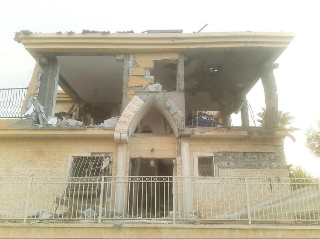 The home of Miri Tamano in Beersheba, damaged by rocket fire from Gaza.