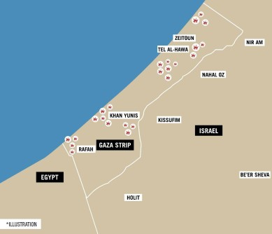 Sites in the Gaza Strip targeted by the IAF on October 17, 2018.