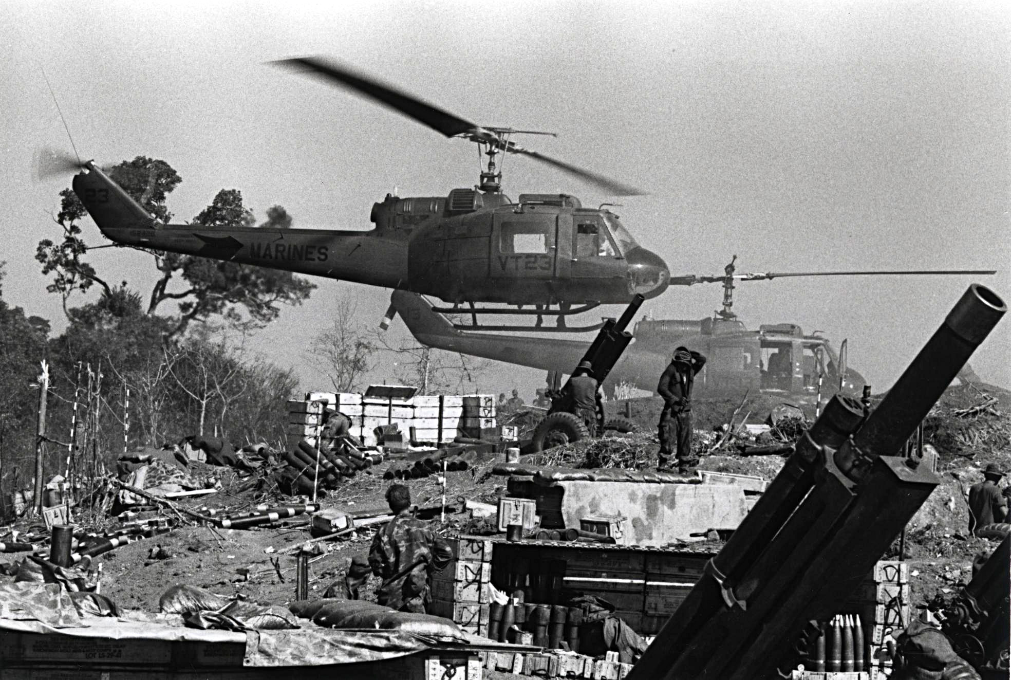 UH-1E_Helicopters_at_Fire_Support_Base_Cunningham,_1969_(11950756174)